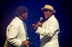 Chris Amoo with Dave Smith of The Real Thing on stage